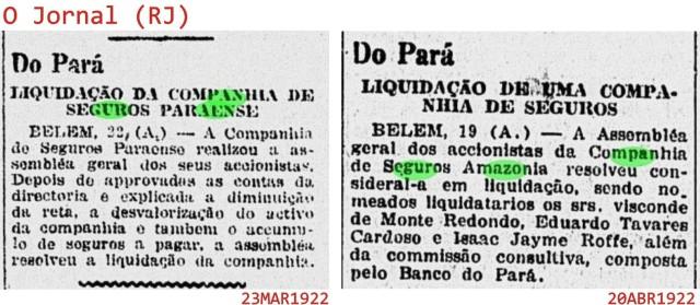 Liquidação companhias de seguro Paraense e Amazonia
